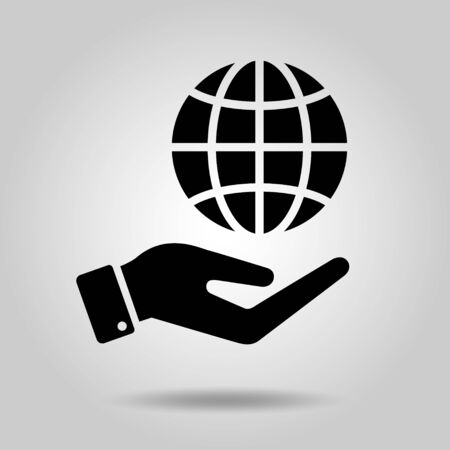 globe image icon in hand