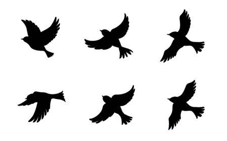 6 fliegende Vögel Silhouetten-Set Vektorgrafik