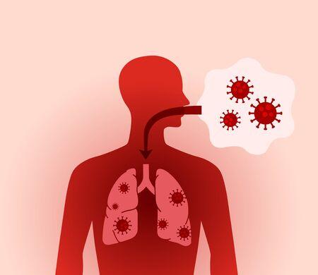 New coronavirus and human Human figure of lung Ilustración de vector