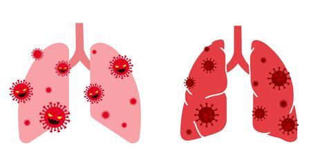 Virus and lungs illustration set Ilustração