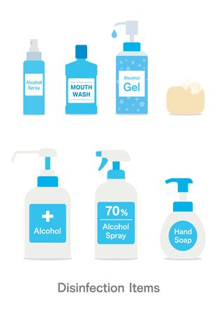 Disinfection set for Virus infection Measures Vektorgrafik