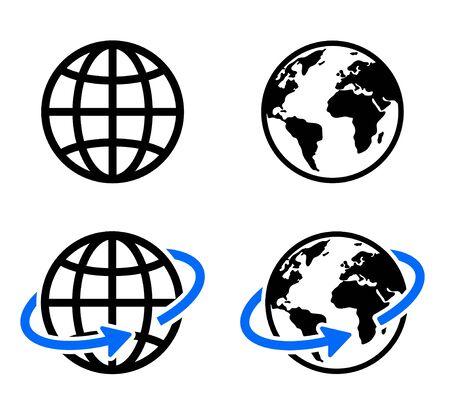 icono de globo de conjunto de imágenes web