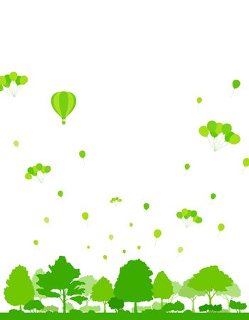 Background illustration of balloons and green trees