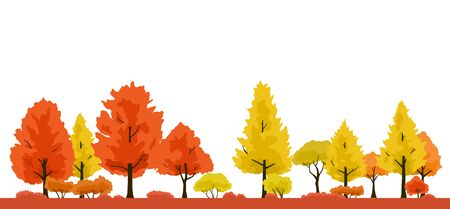 Autumnal trees landscape, illustration Ginkgo Tree and Maple Tree