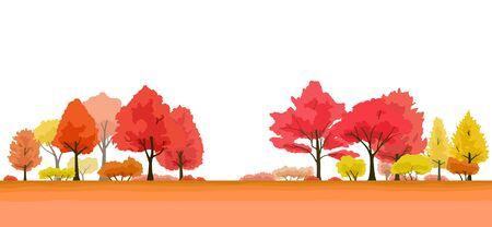 Autumnal trees landscape, illustration background material