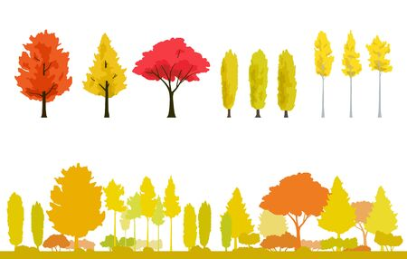 Autumnal trees, Yellow leaf and autumnal landscape set