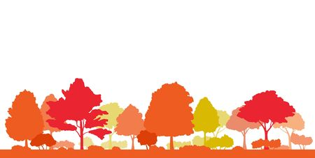 Autumnal trees and autumnal landscape silhouette illustration