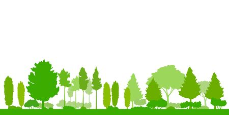Green tree landscape silhouette, illustration background