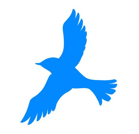 Blue Bird with spread wings icon 矢量图像