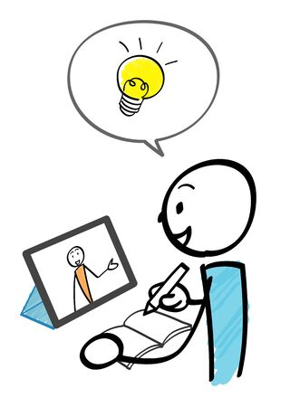 scene of taking an online lesson using a tablet and light bulb 免版税图像