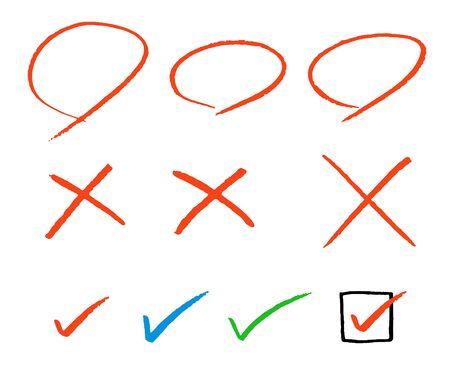 Hand drawn circles, squares and check mark symbols set