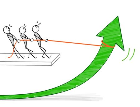 People raising arrows in teamwork