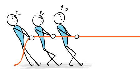 People pulling ropes in teamwork  イラスト・ベクター素材