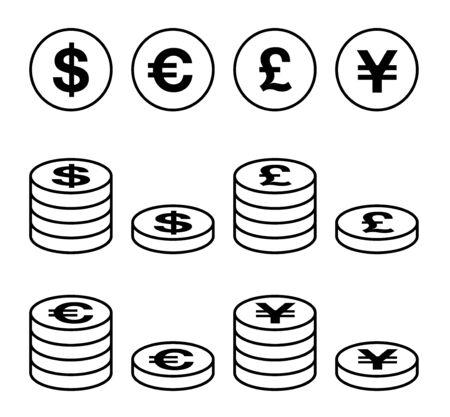 Variety foreign currency icon set, Dollar, Euro, yen, pound