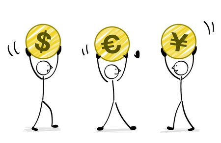 3 people with currency illustration 免版税图像