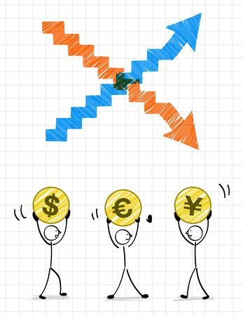 3 people with currency and Arrow illustration