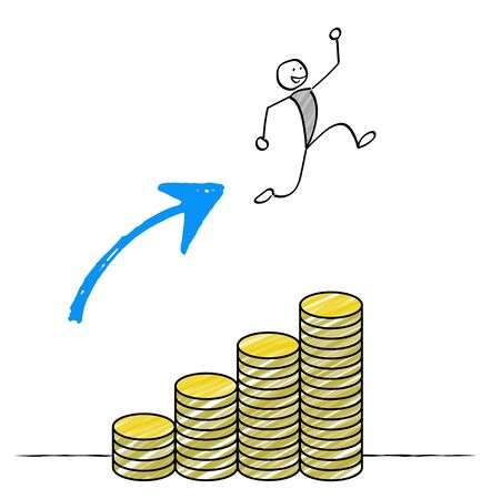 Man jumping with coin stairs