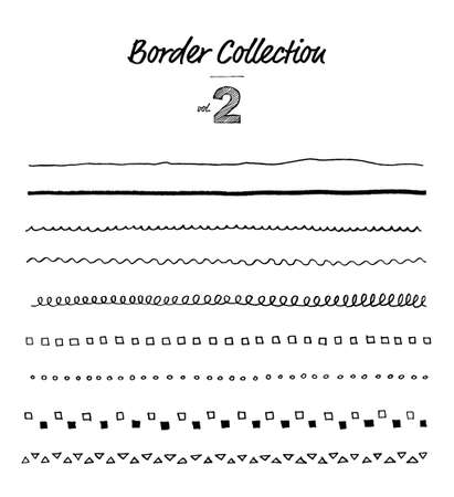 Border material set with hand-drawn line 矢量图像