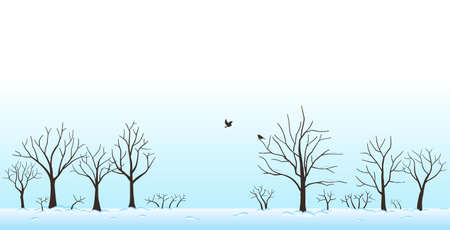 Landscape of trees covered with snow and birds in winter 免版税图像