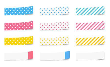 Colorful sticky note variation set (Dot and stripe)  イラスト・ベクター素材