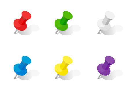 Push pin illustration material, Color variations, thumbtack