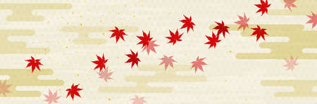 Japanese style cloud background with flowing autumn leaves 免版税图像