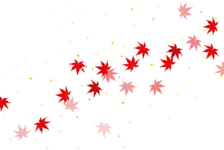 Flowing autumn leaves and white background
