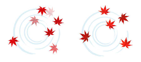 Autumn leaves and ripples white background 矢量图像