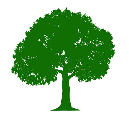 Silhouettes of green tree illustration material