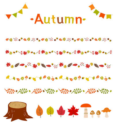 Autumn leaves icon and line material set