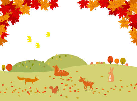 Autumn leaves and animals landscape background material