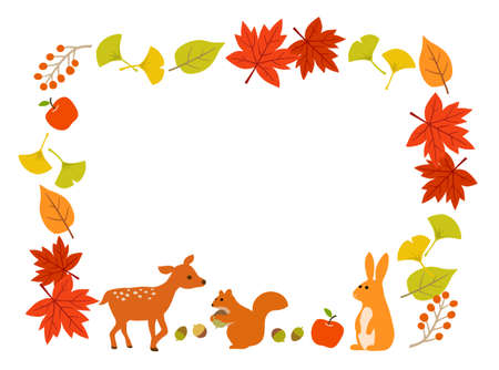 Autumn leaves and animal frame