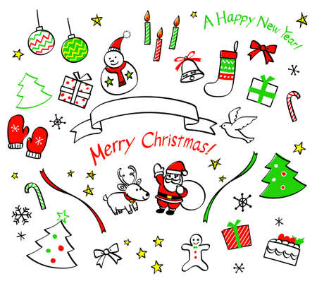 Christmas and New Year hand drawn icon set Illustration