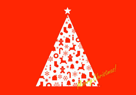 Christmas tree greeting card of Graphic design