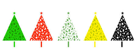 Christmas tree illustration  of Graphic design, color variations