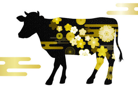 New Year's card material for the year of Ox and Japanese style cloud Standard-Bild