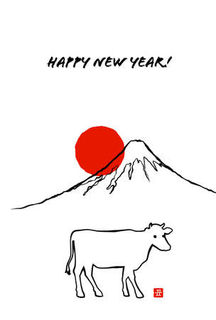 New Year's card of Ox by line drawing Mt. Fuji and sunrise.
