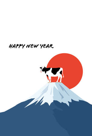 New Year's card of Ox by Mt. Fuji and sunrise