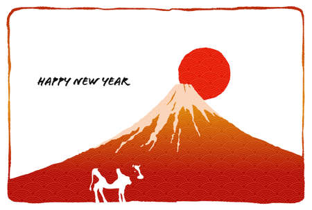New Year's card of Ox by Mt. Fuji and sunrise with retro Japanese style illustration Standard-Bild