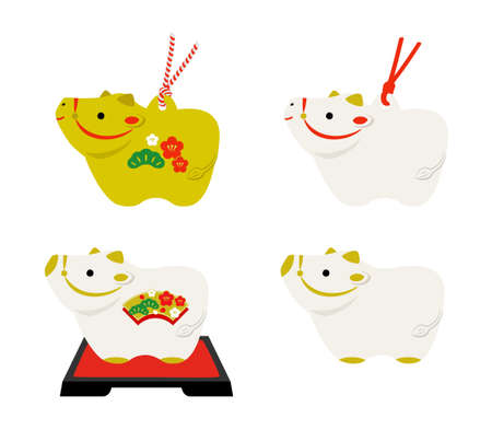 Variation set of New Year's card material for Ox figurine