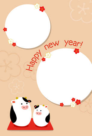 New Year's card year with a photo frame Illustration