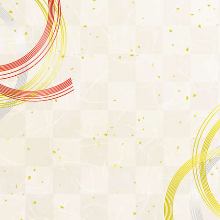 Mizuhiki decoration and Japanese paper texture background with Checkered pattern