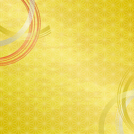 Mizuhiki decoration and gold background with Traditional pattern