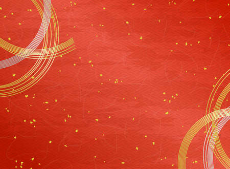 Mizuhiki decoration and Japanese paper texture red background with Gold powder.