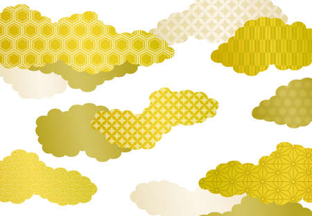 Japanese style cloud and pattern background material Illustration