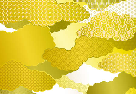 Japanese style cloud and pattern golden background material