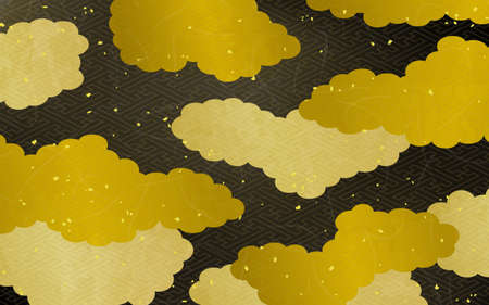 Japanese style cloud and pattern background material Standard-Bild