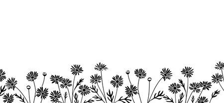 Background material with Margaret flower illustration