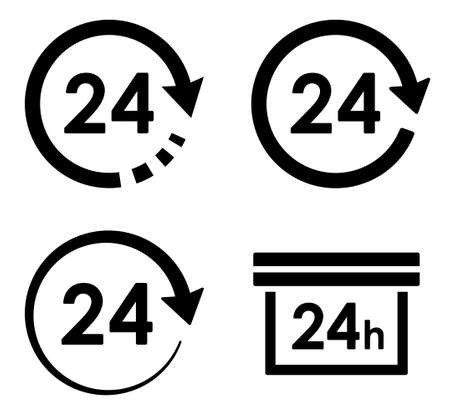 24-hour icon with arrow and circle variation set