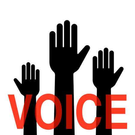 Illustration of people raising hands